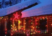 anchorage log cabin with christmas lights ak southcentral winter portrait night stock image A Log Cabin Christmas Collection