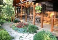 front of house landscaping in 2021 house landscape home Cabin Landscaping Ideas