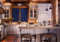 log cabin kitchen i love the distressed white cabinets they Small Log Cabin Kitchens