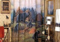 moose r us black bear lodge bathroom shower accessories Cabin Bathroom Decor