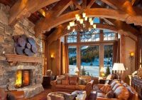 rustic country cabin living room with natural tree slice Country Cabin Living Room Ideas