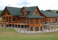 the luxury log home plans with stone chimney design for Luxury Log Cabin Home